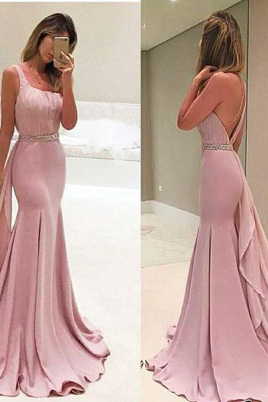 One Shoulder Prom Dress, Dusty Pink Prom Dress, Elegant Prom Dress, Long Prom Dress, Chiffon Prom Dress, Satin Formal Dress, Elegant Prom Dress