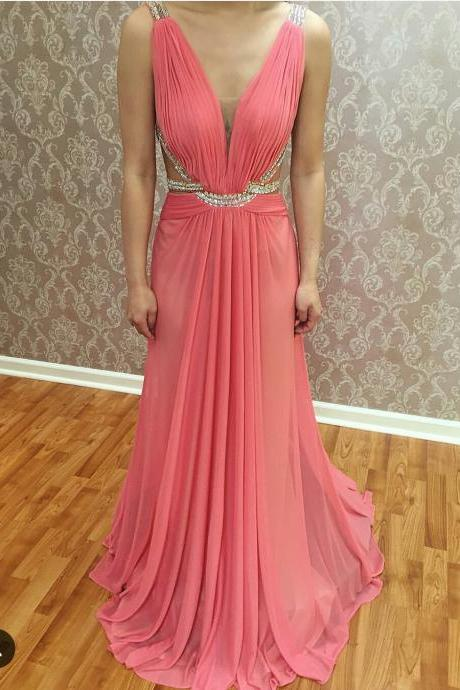 V Neck Prom Dress, Coral Prom Dress, Rhinestones Prom Dress, A Line Prom Dress, Sexy Formal Party Dress, Long Prom Dress, Elegant Prom Dress, Prom Dresses 2017
