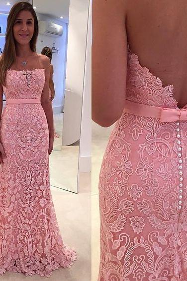 Pink Evening Dress, Long Evening Dress, Lace Evening Dress, Boat Neck Evening Dress, Sexy Evening Dress, Elegant Evening Dress, Cheap Evening Dress, Evening Dresses 2017