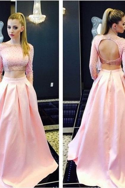 Pink Prom Dresses, 2 Piece Prom Dresses, Elegant Prom Dress, Satin Prom Gowns With Pocket, Long Prom Dress, Cheap Prom Dress, Prom Dresses 2017, Beaded Prom Dress, Long Sleeve Prom