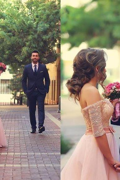 Blush Pink Prom Dress, A Line Prom Dress, Tulle Prom Dress, Lace Prom Dress, Rhinestones Prom Dress, Half Sleeve Prom Dress, Elegant Prom Dress, Prom Dresses 2017, Long Prom Dress