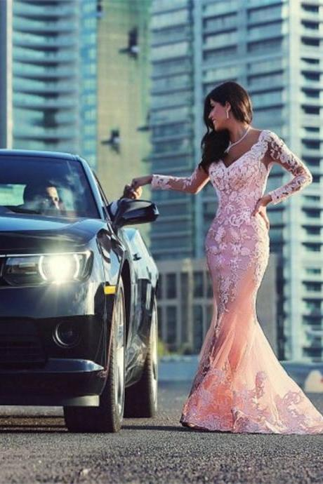 Pink Evening Dress, Lace Evening Dress, Mermaid Evening Dress, Cheap Evening Dress, Elegant Evening Dress, Sheer Back Evening Dress, Long Evening Dress, Formal Party Dresses, Cheap Formal Dress