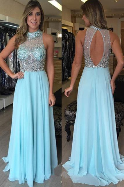High Neck Prom Dress, Crystals Prom Dress, A Line Prom Dress, Backless Prom Dress, Chiffon Prom Dress, Elegant Prom Dress, Beaded Prom Dress, Prom Dresses 2017, Long Prom Dress
