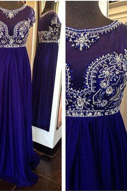 Royal Blue Prom Dress, Beaded Prom Dress, Elegant Prom Dress, A Line Prom Dress, Chiffon Prom Dress, Cap Sleeve Prom Dress, Prom Dresses 2017, Long Prom Dress