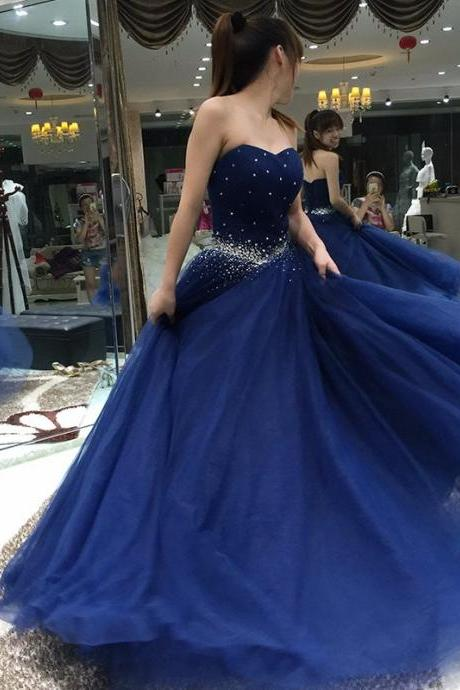 Navy Blue Prom Dress, Elegant Prom Dress, Crystals Prom Dress, A Line Prom Dress, Tulle Prom Dress, Prom Dresses 2017, Floor Length Prom Dress, Cheap Graduation Dresses
