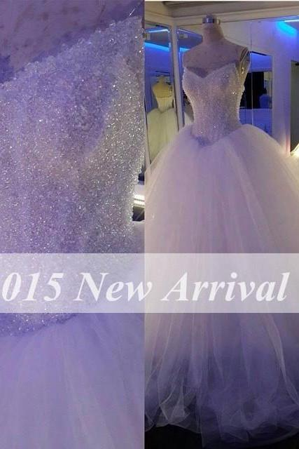 Crystals Wedding Ball Gown, White Wedding Dress, Puffy Wedding Dress, Tulle Bridal Ball Gowns, Rhinestones Wedding Dress, Beaded Wedding Dress, Wedding Dresses 2017, Cheap Bridal Gown