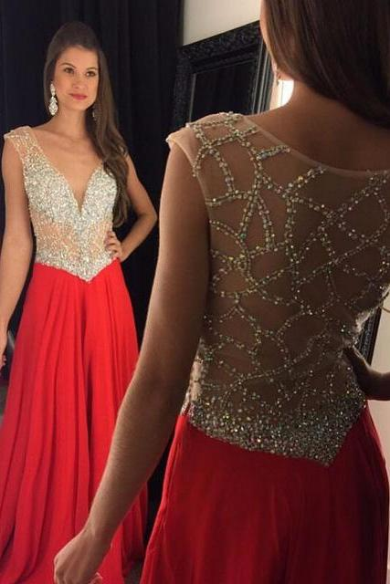 V Neck Prom Dress, Red Prom Dress, Beaded Prom Dress, Sexy Prom Dress, Sheer Back Prom Dress, Chiffon Prom Dress, Women Prom Dresses, Long Prom Dress, Prom Dresses 2017