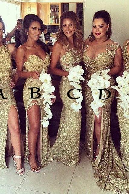 Mismatched Bridesmaid Dresses, Long Bridesmaid Dresses, Gold Sequins Bridesmaid Dress, Cheap Bridesmaid Dresses, Wedding Party Dresses, Bridesmaid Dresses 2017