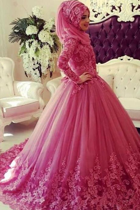 Pink Wedding Dress With Hijab, Lace Wedding Dress, Long Sleeve Wedding Dress, Elegant Wedding Dress, Cheap Wedding Dress, Wedding Dresses 2017, Puffy Wedding Dress, Gorgeous Wedding Dress