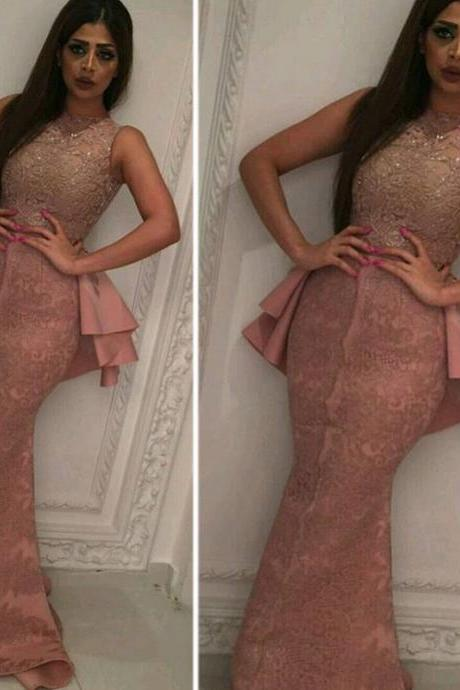 Mermaid Evening Dress, Lace Evening Dress, Dusty Pink Evening Dress, Rhinestones Evening Dress, Saudi Arabic Evening Gowns, Vestido De Longo, Cheap Evening Dress, Formal Party Dresses