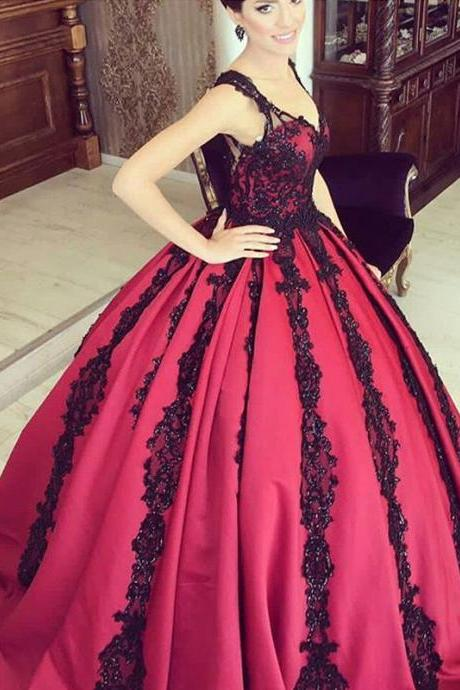 Wine Red Prom Dress, Beaded Prom Dress, Burgundy Prom Dress, Lace Applique Prom Dress, Sweet 16 Dresses, V Neck Prom Dresses, Satin Prom Dresses, Elegant Prom Dresses, Vintage Prom Dresses, Gorgeous Prom Dress