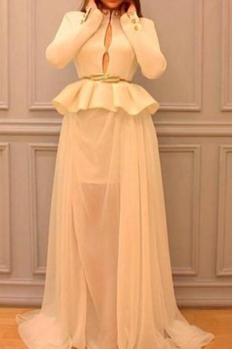 Middle East Style Evening Dress, Champagne Evening Dress, Long Sleeve Evening Dress, Saudi Arabic Evening Dress, Chiffon Evening Dress, Elegant Evening Dress, Vintage Evening Dress, Formal Dresses 2017