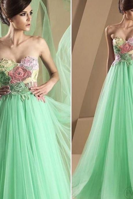 Mint Green Prom Dress, Handmade Flowers Prom Dress, Tulle Prom Dress, Elegant Prom Dress, Simple Prom Dress, A Line Prom Dress, Floor Length Prom Dress, Cheap Prom Dress, Vestido De Festa