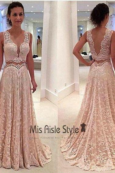 2 Piece Prom Dresses, Pink Prom Dresses, Elegant Prom Dresses, Lace Prom Dresses, Deep V Neck Prom Dresses, Cheap Prom Dresses, A Line Prom Dress, Senior Formal Dresses
