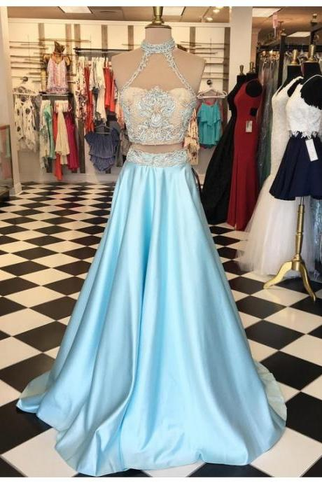 Light Blue Prom Dress, High Neck Prom Dress, A Line Prom Dress, Satin Prom Dress, Simple Prom Dress, Elegant Prom Dress, Cheap Prom Dress, 2017 New Arrival Formal Dress, Long Prom Dress, 2 Piece Prom Dresses