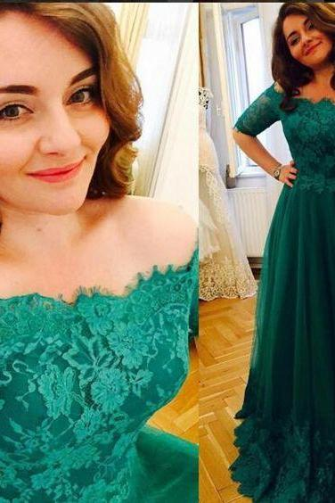 Plus Size Prom Dress, Hunter Green Prom Dress, Lace Applique Prom Dress, Elegant Prom Dress, A Line Prom Dress, Floor Length Prom Dress, Tulle Prom Dress, Pregnant Prom Gowns, Vestido De Festa