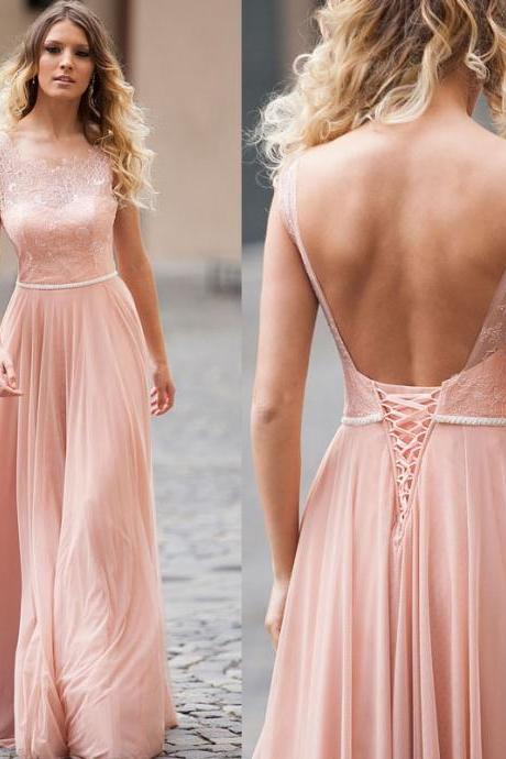 Pink Bridesmaid Dress, Lace Bridesmaid Dress, Cheap Bridesmaid Dress, Long Bridesmaid Dress, Bridesmaid Dresses 2017, Backless Bridesmaid Dress, Junior Bridesmaid Dress, Wedding Guest Dresses