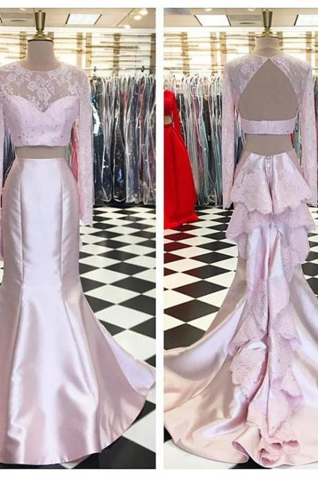2 Piece Prom Dresses, Pink Evening Dress, Long Sleeve Evening Dress, Lace Evening Dress, Beaded Evening Dress, Mermaid Evening Dress, Long Sleeve Evening Dress, Satin Evening Dress, Backless Evening Dress, Evening Dresses 2017