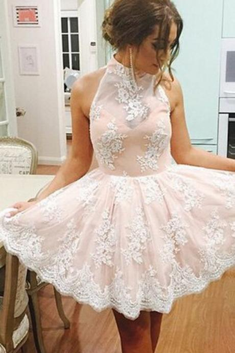 Cocktail Party Dresses, Pink Homecoming Dress, Short Homecoming Dress, Cheap Homecoming Dress, Lace Applique Prom Dress, High Neck Homecoming Dress, Homecoming Dresses 2017, Sexy Party Dresses, Graduation Dresses 2017