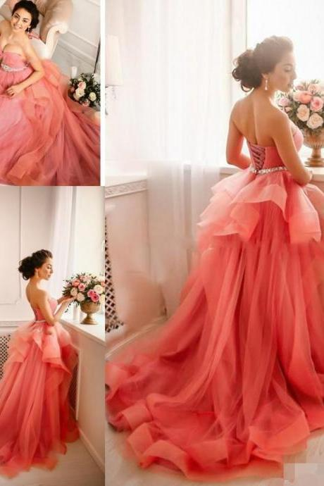Coral Prom Dress, Elegant Prom Dress, Sweetheart Neckline Prom Dresses, Rhinestones Prom Dress, Vestido De Longo. A Line Prom Dress, Prom Dresses 2017, Vestido De Festa, Puffy Prom Dress
