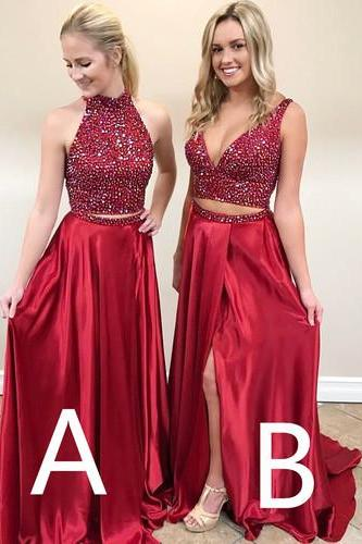 Mismatched Prom Dresses, Burgundy Prom Dress, Beaded Prom Dress, Sexy Prom Dress, Two Piece Prom Dresses, A Line Prom Dresses, Elegant Prom Dress, Satin Prom Dresses, Prom Dresses 2017, Vestido De Festa