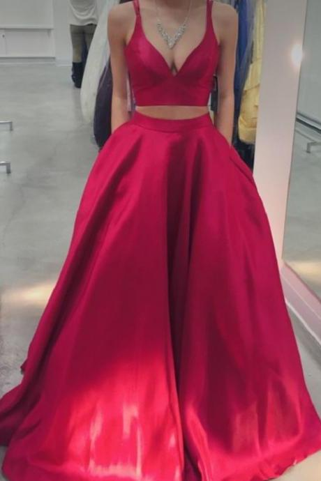 2 Piece Prom Dresses, Simple Prom Dress, Satin Prom Dress, Elegant Prom Dresses With Pocket, Red Prom Dress, A Line Prom Dress, Sexy Prom Dress, Floor Length Prom Dress, Women Prom Dress, Cheap Graduation Dresses