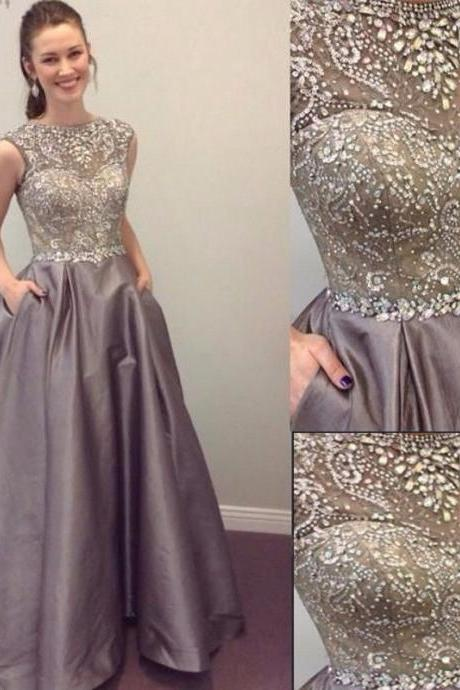 Gray Prom Dress, Rhinestones Prom Dress, Vintage Prom Dress, Satin Prom Dress, Modest Prom Dress, Cap Sleeve Prom Dress, Prom Dresses With Pocket, Vestido De Longo De Festa