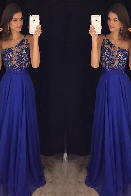 One Shoulder Prom Dress, Beaded Prom Dress, Royal Blue Prom Dress, Long Prom Dress, A Line Prom Dress, Women Formal Party Dresses, Lace Prom Dress, Elegant Prom Dress, Sheer Back Evening Gowns