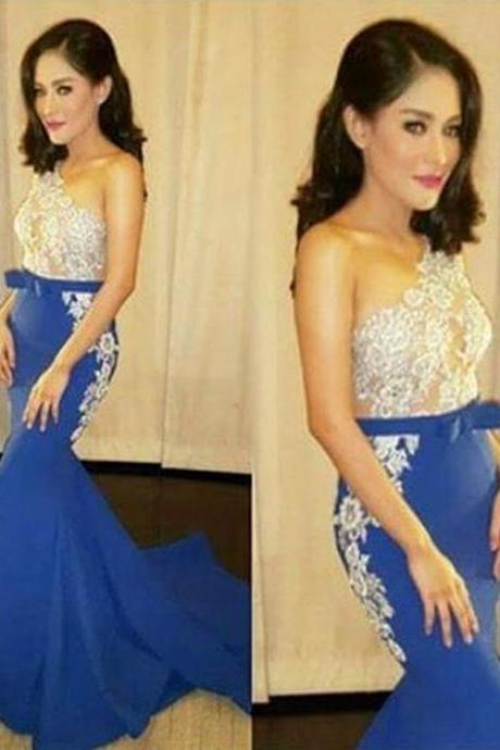 Blue Evening Dress, Mermaid Evening Dress, Lace Evening Dress, Cheap Evening Dress, Long Evening Dress, Elegant Evening Dress, One Shoulder Evening Dress, Formal Party Dresses, Women Formal Party Dresses