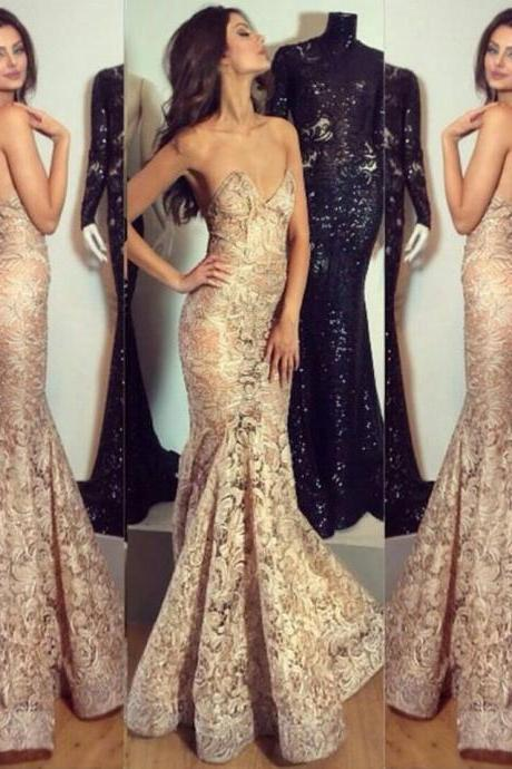Champagne Evening Dress, Lace Applique Evening Dress, Mermaid Evening Dress, Gorgeous Evening Dress, Long Evening Dress, Cheap Evening Dress, Evening Dresses 2017, Formal Party Dresses, Affordable Evening Dress