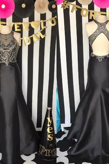 Black Evening Dress, Satin Evening Dress, Long Evening Dress, Beaded Evening Dress, Mermaid Evening Dress, Vintage Evening Dress, Cheap Evening Dress, Backless Evening Dress, Modest Evening Dress