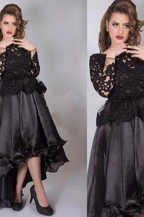 High Low Prom Dress, Black Prom Dress, Sexy Prom Dress, Elegant Prom Dress, Lace Applique Prom Dress, Prom Dresses 2017, Long Prom Dress, Vestido De Festa De Longo, Long Sleeve Prom Dress