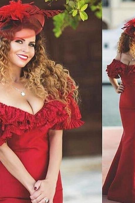 Wine Red Evening Dress, Mermaid Evening Dress, Elegant Evening Dress, Saudi Arabic Evening Gown, Long Evening Dress, Cheap Evening Dress, Formal Party Dress, Evening Dresses 2017, Women Formal Party Dress