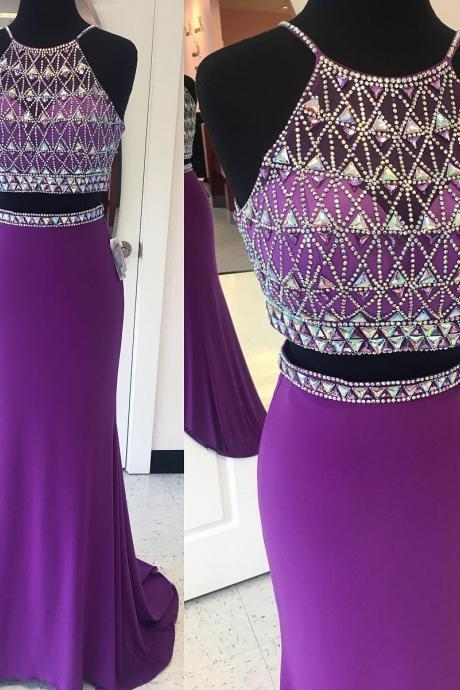 Mermaid Evening Dress, Purple Evening Dress, Rhinestones Evening Dress, Long Evening Dress, Sexy Evening Dress, Cheap Evening Dress, Chiffon Evening Dress, Formal Party Dresses, Halter Evening Dress