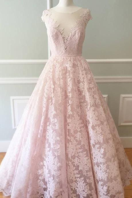 Pink Prom Dress, Lace Prom Dress, Real Photo Prom Dress, 2017 Prom Dress, Vestido De Longo, Cap Sleeve Prom Dress, Custom Prom Dress, A Line Prom Dress, Tulle Prom Dress, Elegant Prom Dress