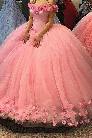 Pink Wedding Dress, Princess Wedding Dress, Elegant Wedding Dress, 3D Flowers Wedding Dress, Wedding Ball Gown, Cap Sleeve Wedding Dress, Cheap Wedding Dress, Bridal Ball Gown, Custom Wedding Dress