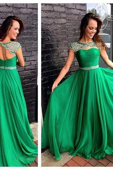 Beaded Prom Dress, Elegant Prom Dress, Green Prom Dress, A Line Prom Dress, Cap Sleeve Prom Dress, Prom Dresses 2017, Long Prom Dress, Chiffon Prom Dress, Vestido De Festa, Elegant Prom Dress, Formal Party Dresses