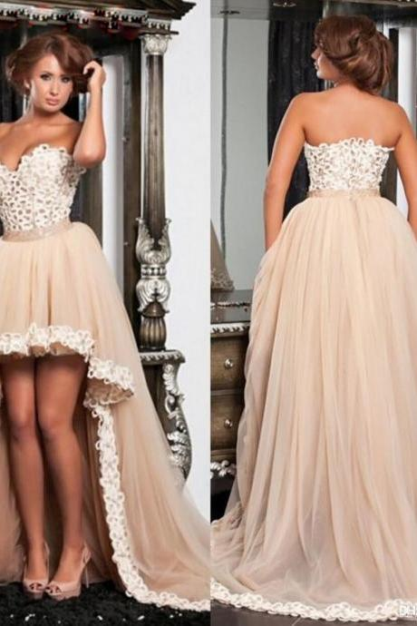 High Low Prom Dress, Champagne Prom Dress, Prom Dresses 2017, Vestido De Festa De Longo, Sexy Prom Dress, Elegant Prom Dress, Women Formal Party Dress, Puffy Prom Dress, Cheap Prom Dress