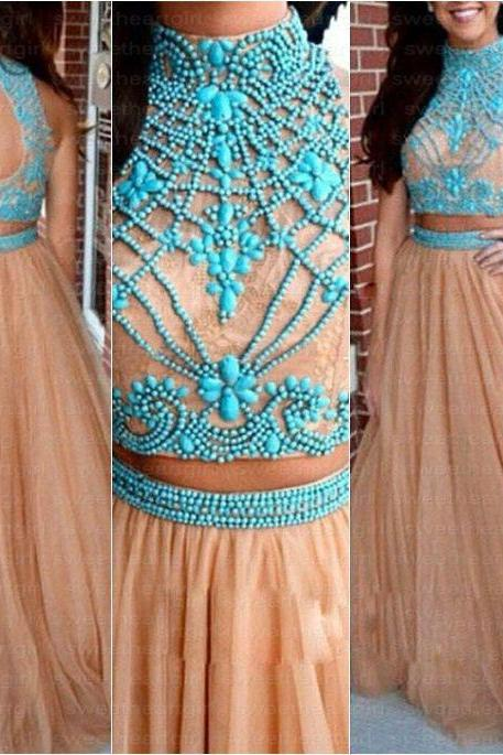 Two Piece Prom Dresses, Tulle Prom Dress, Blue Stones Prom Dress, A Line Prom Dress, Elegant Prom Dress, Cheap Graduation Dresses, Vestido De Festa De Longo, High Neck Pro Dress, Champagne Prom Dress