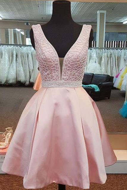 Pink Homecoming Dress, Satin Homecoming Dress, Short Homecoming Dress, Sexy Homecoming Dress, V Neck Prom Dress, Cocktail Party Dresses, Cheap Graduation Dresses, A Line Homecoming Dress, Prom Dresses 2017, Women Formal Party Dresses