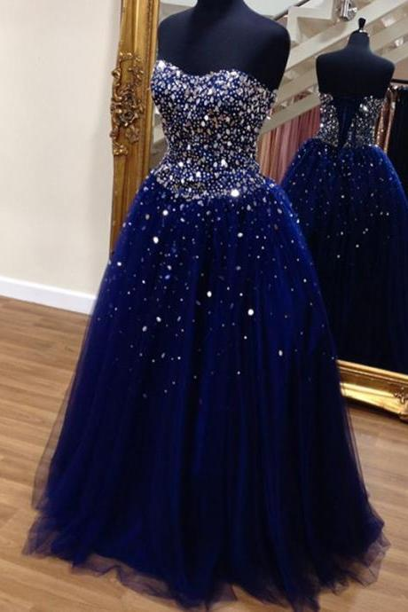 Navy Blue Prom Dress, Luxury Prom Dress, Rhinestones Prom Dress, Elegant Prom Dress, Modest Evening Gown, Cheap Graduation Dress, Floor Length Prom Dress, Tulle Prom Dress, Prom Dresses 2017