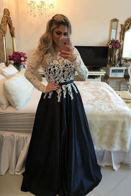 Black Prom Dress, 2017 Prom Dresses, Satin Prom Dress, Lace Applique Prom Dress, Elegant Prom Dress, Cheap Prom Dress, Floor Length Prom Dress, Vestido De Festa De Longo, Senior Formal Dresses