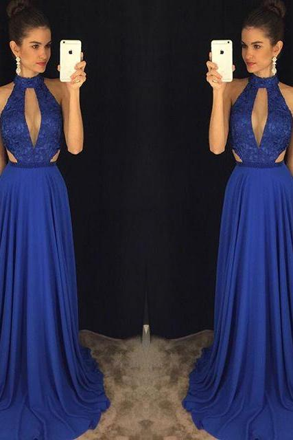 High Neck Prom Dress, Royal Blue Prom Dress, Vestido De Festa, A Line Prom Dress, Lace Prom Dress, Elegant Prom Dress, Sexy Prom Dress, Vestido De Longo, Backless Prom Dress, Prom Dresses 2017
