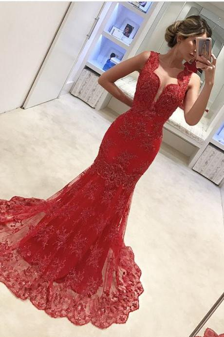 Red Evening Dress, Mermaid Evening Dress, Lace Applique Evening Dress, Affordable Evening Dress, Long Evening Dress, Formal Party Dresses, Deep V Neck Evening Dress, Sexy Formal Dresses, Evening Dresses 2017