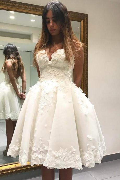 Short Homecoming Dress, Lace Homecoming Dress, Ivory Homecoming Dress, Cocktail Party Dresses, Sweetheart Necklines Homecoming Dress, Prom Dresses 2017, Puffy Prom Dress