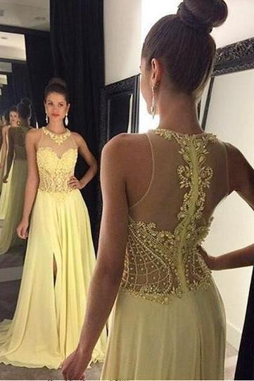 Yellow Prom Dress, Beaded Prom Dress, A Line Prom Dress, Chiffon Prom Dress, Backless Prom Dress, Elegant Prom Dress, Sexy Prom Dress, O Neck Prom Dress, Lace Applique Prom Dress, Women Formal Dresses, Prom Dresses 2017
