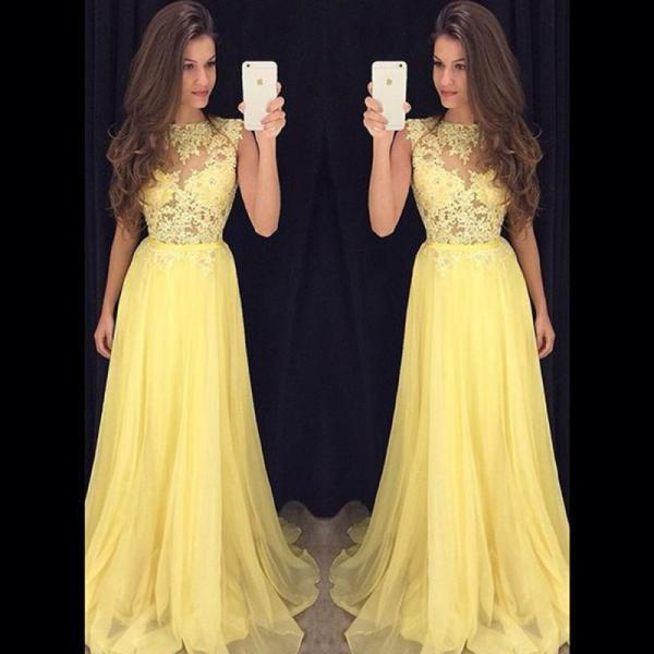 Yellow Prom Dress, Lace Prom Dress, Chiffon Prom Dress, Beading Prom Dress, Long Prom Dress, Elegant Prom Dress, Cheap Prom Dress, Vestido De Festa De Longo, A Line Prom Dress, Prom Dresses 2017
