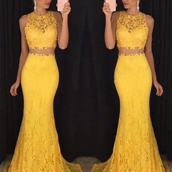 2 Piece Evening Dress, Gold Evening Dress, Mermaid Evening Dress, Long Evening Dress, Lace Evening Dress, Cheap Evening Dress, Elegant Evening Dress, Simple Evening Dress, Formal Party Dresses, O Neck Evening Dress