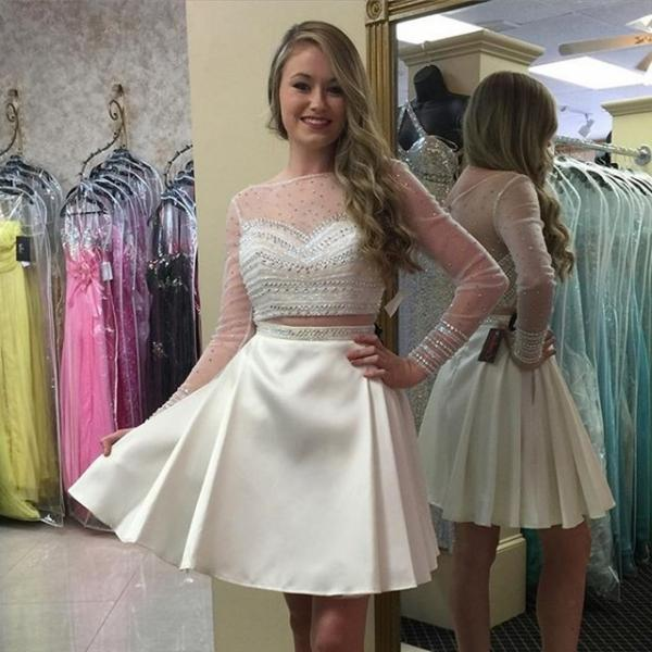 2 Piece Prom Dresses, Short Prom Dress, Long Sleeve Prom Dress, Beaded Prom Dress, Elegant Prom Dress, Rhinestone Prom Dress, Cocktail Dresses 2017, Homecoming Dresses Short, Women Formal Dresses