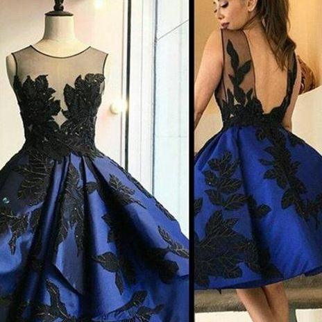 Navy Blue Homecoming Dress, Sleeveless Prom Dress, Short Prom Dress, Vintage Prom Dress, Cheap Prom Dress, Graduation Dresses 2017, Cocktail Dresses, Backless Homecoming Dress, Lace Applique Prom Dress